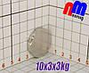 Малий неодимовий диск 10*3*3кг, N42,🔥ПОЛЬША🔥
