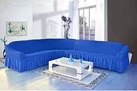 Чехол на угловой диван + кресло DO&CO, цвет синий, фото 1