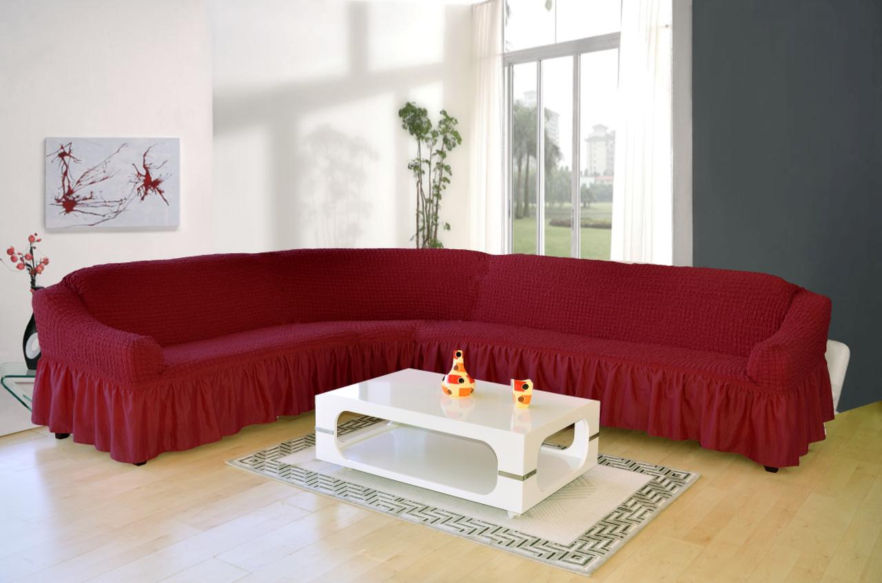 Чехол на угловой диван + кресло DO&CO, цвет бордовый