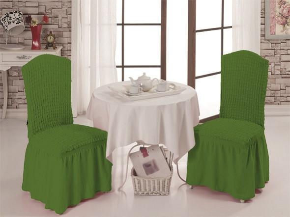 Чехлы  для стульев тёмно-зеленые (набор 6 шт.)