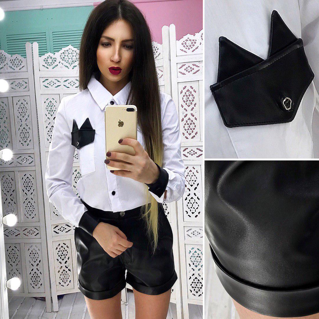 a5725b59e49 Модный женский костюм шорты эко. кожа+рубашка белая АМН-1803.108 ...
