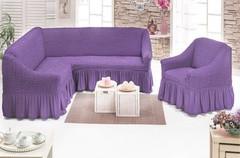 Чехол на угловой диван + кресло ,DO&CO  цвет светло-сиреневый