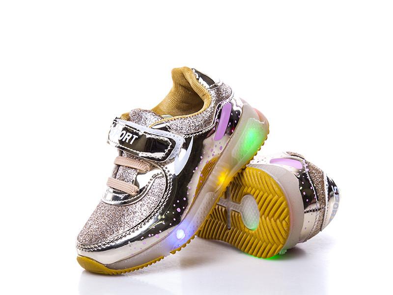 1e12a8be8c72 Обувь для девочек, детские кроссовки золотые LED - mioBambino Интернет  магазин детской обуви в Днепре