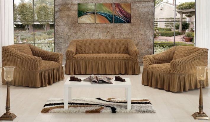 Чехол на диван + 2 кресла СОТЫ, кофе с молоком