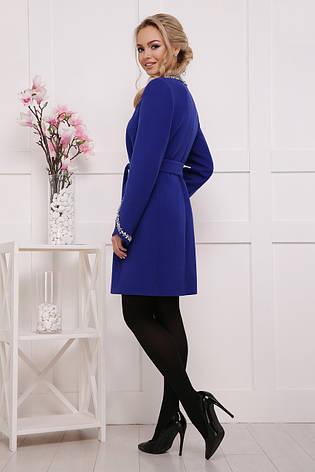 Женское шерстяное пальто без капюшона, электрик, р.40,42,44,46, фото 2