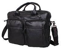 Добротная мужская сумка-портфель из натуральной высококачественной кожи черная Accessory Collection RT-1710-1