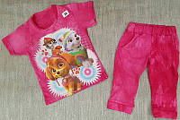 Комплект для девочки футболка и бриджи из хлопкового трикотажа Щенячий патруль