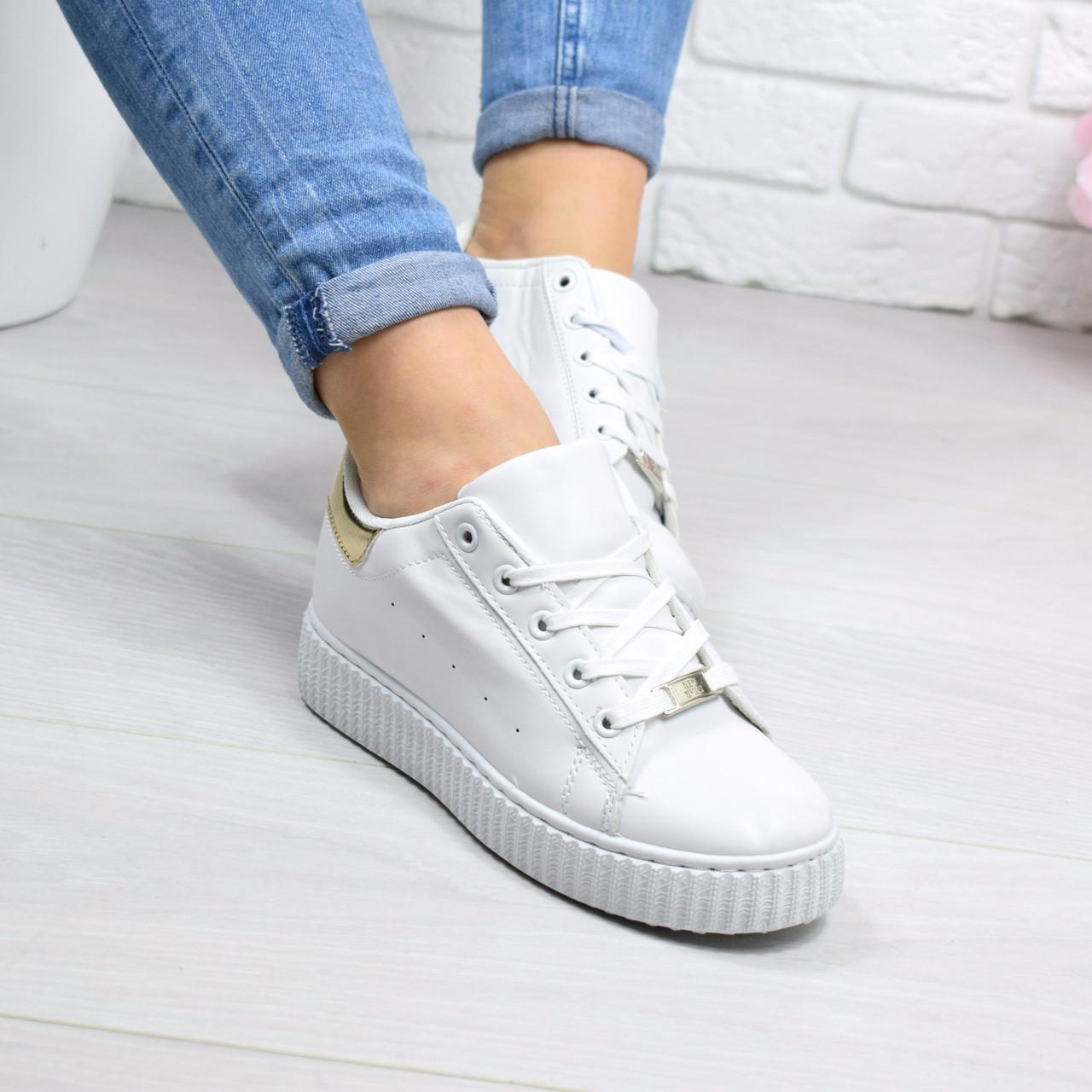 """Кроссовки, кеды, мокасины женские белые """"Melee"""" эко кожа, спортивная, летняя, повседневная обувь"""