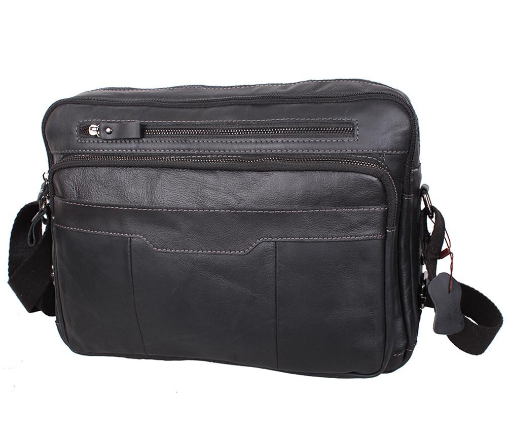 Горизонтальная мужская кожаная сумка формата А4 черная RT-1863-1