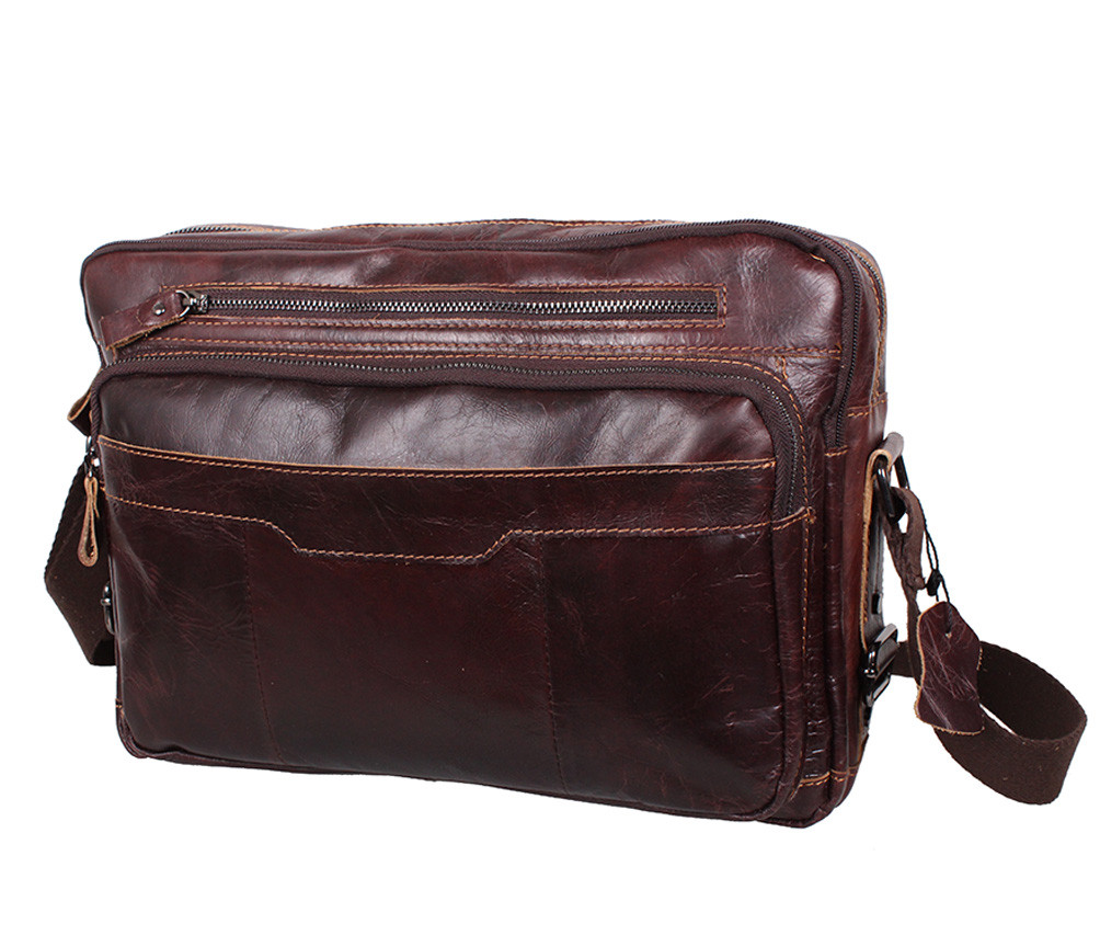 Горизонтальная мужская кожаная сумка формата А4 коричневая RT-1863-2