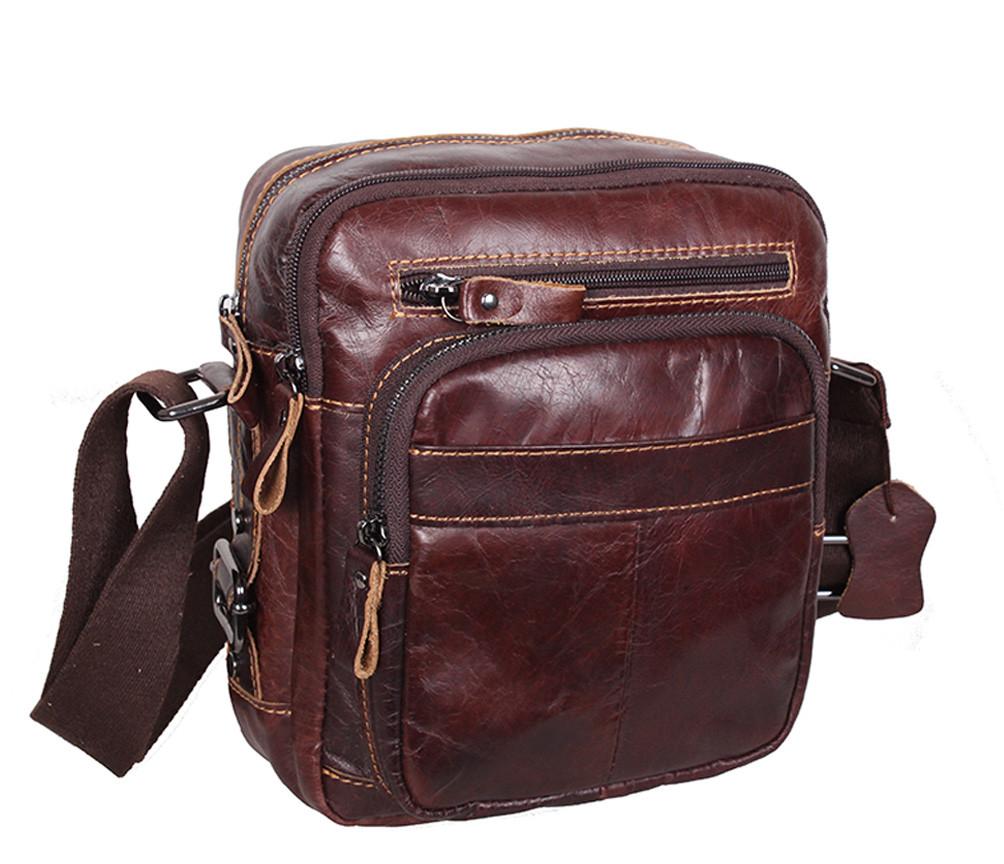 Функциональная мужская кожаная сумка коричневая RT-5262-1