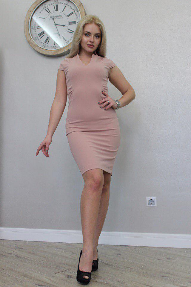 """Летнее офисное платье-футляр """"Melanie"""" с коротким рукавом (3 цвета)"""