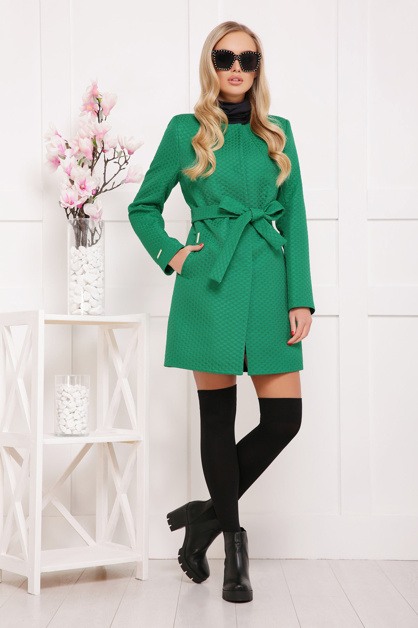 Женское пальто без воротника, зеленое в горох, р.42,44,46,48