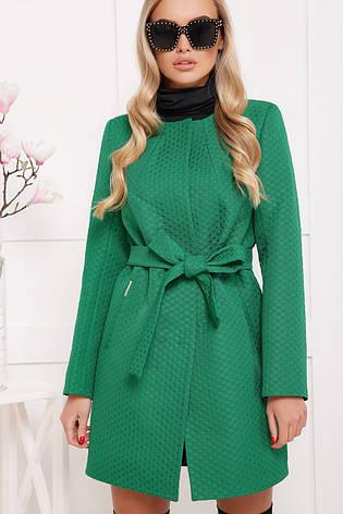 Женское пальто без воротника, зеленое в горох, р.42,44,46,48, фото 2