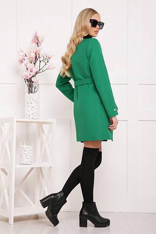 Женское пальто без воротника, зеленое в горох, р.42-48, фото 2