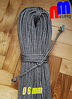 Веревка, шнур, фал, трос, канат для альпинизма, яхтинга, якоря, для поискового магнита 6мм , 300кг на разрыв