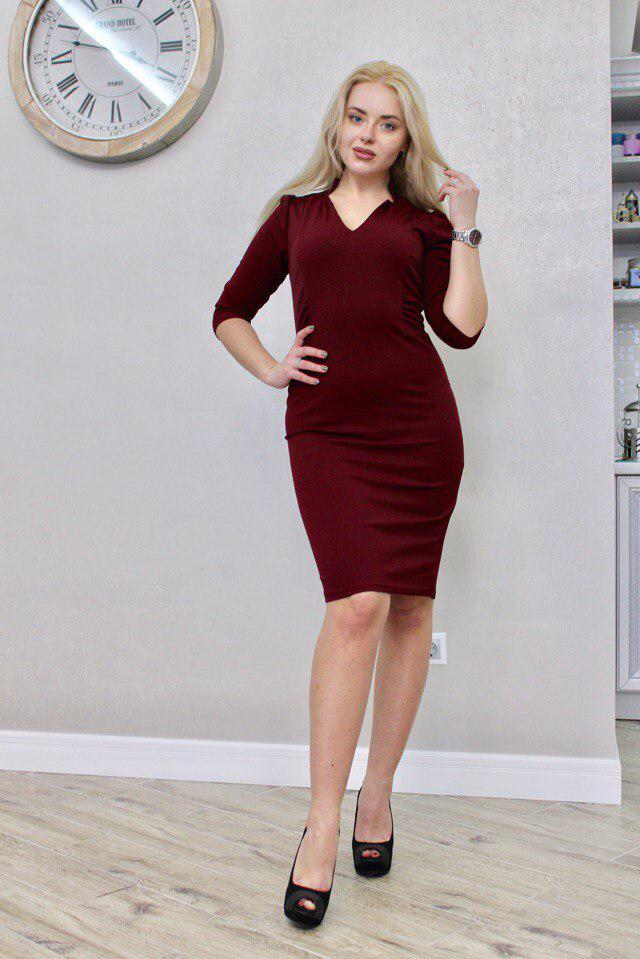 """Офисное платье-футляр по колено """"Марион"""" с четвертным рукавом (3 цвета)"""