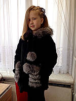 Роскошная детская шубка из меха нутрии и чернобурки, фото 1