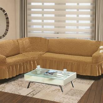 Чехол на угловой диван ТМ Demfirat Karven, цвет карамельный