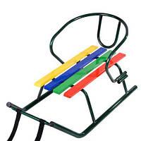 Санки МАЛЫШ+спинка, зеленый лак крашеные планки 730*400*210