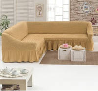 Чехол на угловой диван ТМ Demfirat Karven, цвет медовый