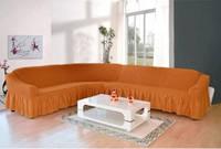 Чехол на угловой диван  ТМ Demfirat Karven, цвет апельсиновый