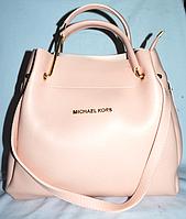 Женская сумка-шоппер Michael Kors цвет пудра, розовая (Майкл Корс) с отстёгивающейся косметичкой