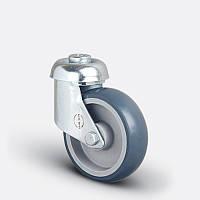 Колеса поворотные 100 мм с отверстием M12 на серой резине для супермаркетов