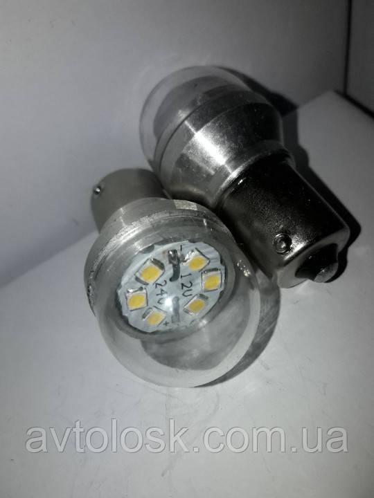 Лампа P21w светодиодная,одноконтактная. 6 smd 12/24 volt.Белая.