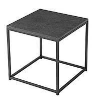 Столик квадратный черный для улицы и сада из стали и гранита