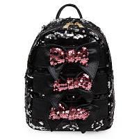 Рюкзак черный с паетками и бантиками