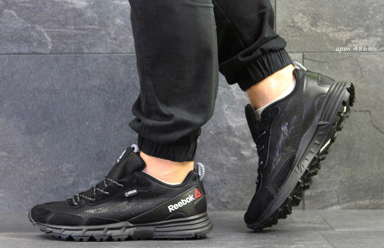 Мужские кроссовки Reebok,плотная сетка, черные