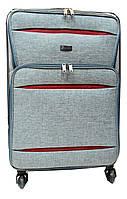 Превосходный дорожный чемодан серого цвета текстиль (размерный ряд) 4 колеса Ч39, фото 1