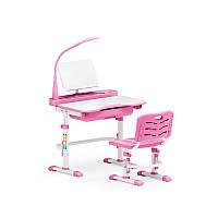 Розовая парта и стульчик Evo-kids Evo-18 (с лампой)
