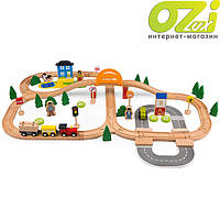 Деревянная железная дорога 78 элементов Wooden Train Set