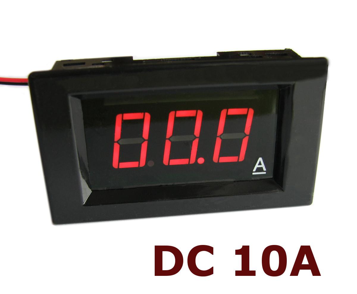 Амперметр постоянного тока до 10А DC с шунтом цифровой встраиваемый A85DC Красный