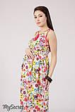 Сарафан для беременных и кормящих KATHLEEN SF-28.132, принт цветы на молочном, фото 4