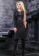 Экстравагантное черное платье с кожаными вставками Д-1034