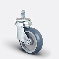 Колеса поворотные 125 мм с резьбой M12 на серой резине для супермаркетов