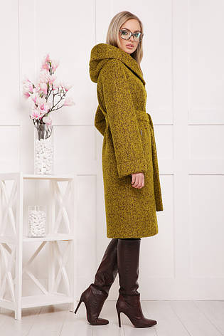 Женское шерстяное пальто, горчичное, р.42-56, фото 2