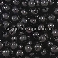 (20 грамм) Жемчуг бусины шар, d=6мм (прим. 190-220шт) Цвет - черный