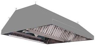 Зонт кухонный вытяжной островной из нержавеющей стали с жироулавливателем