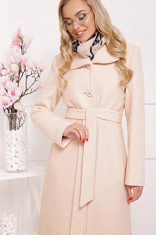 Женское шерстяное пальто с английским воротом, нежная пудра, р.46,48, фото 2