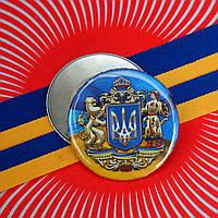 "Значок ""Тризуб великий Герб України на прапорі"" (56 мм), значки символіка, значок Украина купить, украина"
