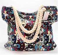 """Женская пляжная сумка из ткани """"Сова""""  WUU-100499, фото 1"""