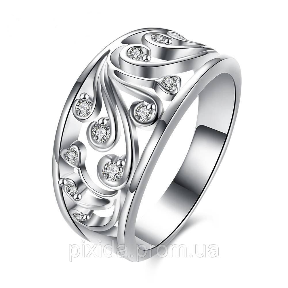 Перстень узорный цирконы