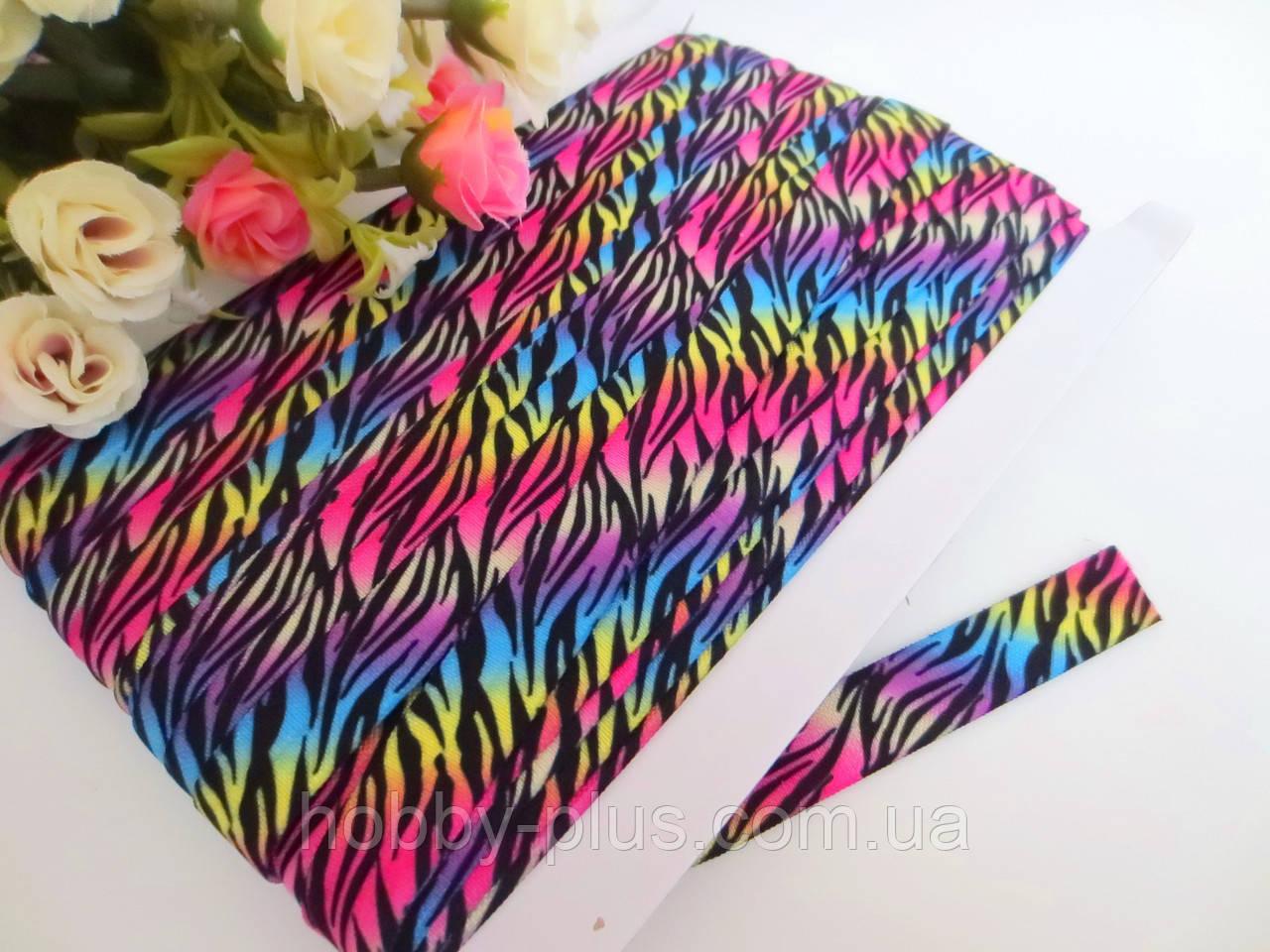 Бейка-резинка для повязок, цвет разноцветное омбре с черными полосами, 15 мм