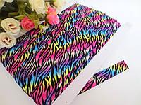 Бейка-резинка для повязок, цвет разноцветное омбре с черными полосами, 15 мм, фото 1