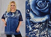 Женская туника принт Роза, с 58-64 размер