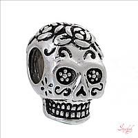 Металлическая 3D бусина 15х10мм череп с розочкой платина для рукоделия